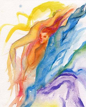 "Watercolor painting entitled ""Thoughts"""